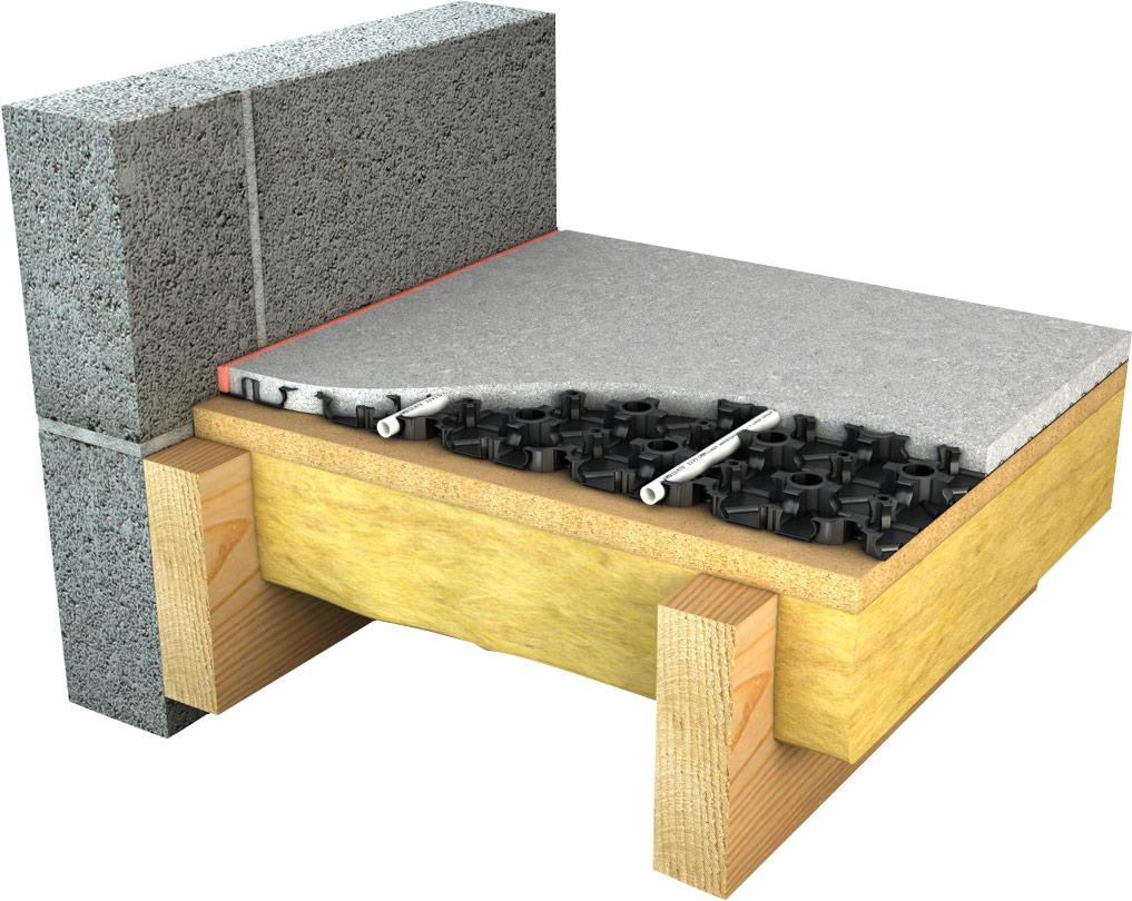 diagram of joisted floor underfloor heating system