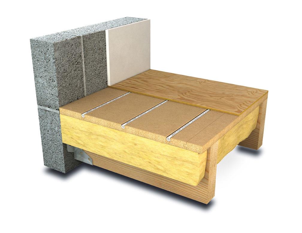 Joisted floor underfloor heating system diagram